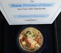 2007 GOLD PLATED PROOF 5OZ COOK ISLANDS $5 COIN WITH DIAMONDS BOX + COA DIANA
