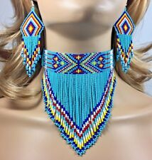 NEW WOMEN TURQUOISE BLUE BEADED CHOKER BIB NECKLACE HOOK EARRINGS SET S18/6
