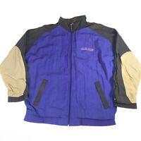 Vintage 90s Adidas Windbreaker Track Jacket Blue Colorblock M Zip Up Activewear