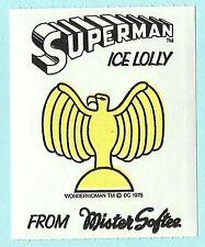 MISTER SOFTEE SUPERMAN ICE LOLLY Adesivo Premium circa 1978 - WONDER WOMAN LOGO