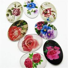 18x25mm 10pcs Radom Rose Pattern Oval Glass Dome Seals Cabochon