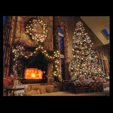 Christmas Tree & Fireplace Light up Fibre Optic LED Canvas/Picture 40 x 30cm