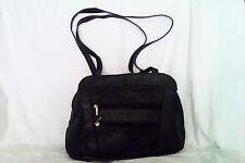 Genuine Leather Black Multi Compartment Hand Bag/ Travel Bag