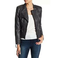 New BLANKNYC Faux Leather Fitted Moto Jacket Womens Size XL Gray Zip