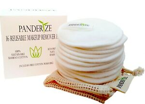 Reusable Makeup Pads 16 Washable Face Pads including Wash Bag by Panderize