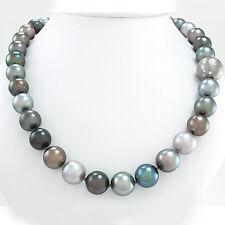 Farbenfrohe Tahiti-Perlenkette - 18K Gold-Schließe m.Brillanten ca.0,76 ct -110g