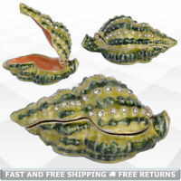 Sea Scallop Jewelry Pill Trinket Box with Hinged Lid Enamel Bejeweled Rhinestone