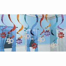 The Party Continues 40th Hanging Multi Colour Swirl Decorations