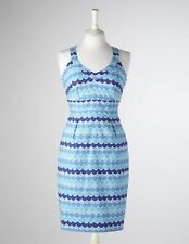 Boden Blue Printed Cotton Halter Sun Dress Size 12 Long UK 16 Scallop
