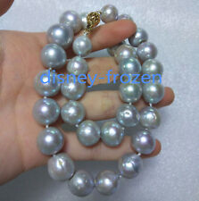 "18"" baroque AAA+ 15-12mm real natural south sea gray pearl necklace 14k Clasp"
