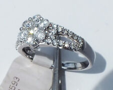 1.02CT Diamond Flower cluster Ring 14K solid stamped White Gold, size 7, NWT