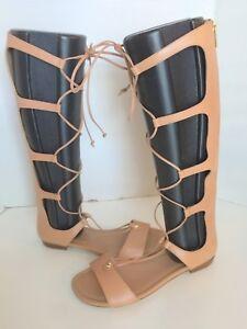 Michael Kors Sofia Sun Tan Brown Gladiator Open Toe Lace Up Back Zip Sandals 10