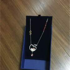 Hello kitty x Swarovski Kitty Face Necklace Apple Ribbon Authentic Japan F/S NEW