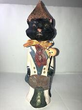 "Teena Flanner Halloween Chalkware Figurine 11"" Tall Cat"