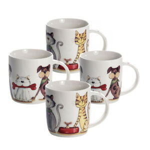 Cat Dog Cups for Coffee Tea Set of 4 China Mugs Cute Animal Themed Gift