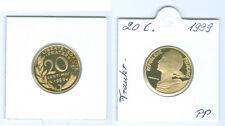 France 20 Centimes 1999 PP Seulement 10.000 Pièce