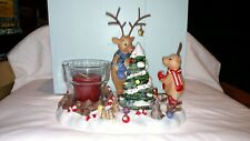 Christmas Partylite Reindeer Votive Candle Holder Decorating Tree In Snow P8536