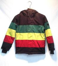 Quiksilver Junior Fracture Snowboard Jacket Black Red Yellow Green Small NEW