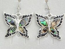 1 Pair of Abalone Butterfly Earrings 22 * 25 mm Long Nickle Lead Free ER039