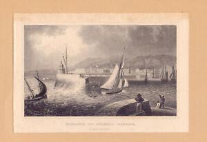 1830 Antique Print; Swansea Harbour Entrance, Glamorganshire