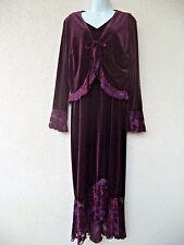 VTG 90s MAXI DRESS & JACKET SET Burnout Velvet Trim Romantic Gypsy Witchy Boho