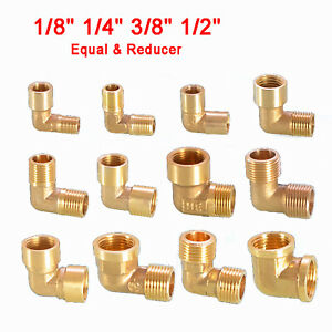 """Brass Elbow Female Male BSP Thread Fitting Pipe Connector 1/8"""" 1/4"""" 3/8"""" 1/2"""""""