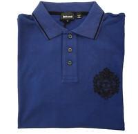 Polo T-shirt just cavalli manica corta maglia short sleeves blu blue  S01GC0251