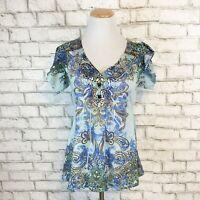 One World Women's Teal Boho Hippie V-Neck Short Sleeve Shirt Top Size Medium