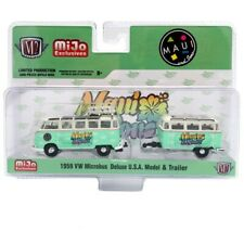 M2 MACHINES MIJO EXCLUSIVES MAUI & SONS 1959 VOLKSWAGEN MICROBUS & TRAILER