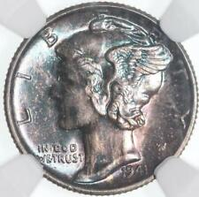 1941 S MERCURY DIME, NGC MS65FB, CERTIFIED TONE MONSTER, DEEP EMERALD GREENS!