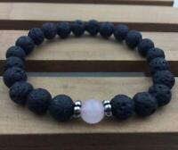 8mm volcanic Bracelet Bead Stretchy pray Monk Gemstone yoga 7.5inches Handmade