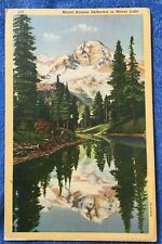 Mount Rainier Reflected in Mirror Lake Vintage Linen Postcard