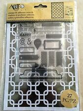 Art-C Clear Acrylic Stamp & Adhesive Stencil Set Interlocking Squares 27-pc NEW