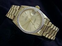 Midsize Rolex Datejust President 18K Yellow Gold Watch 1ct Diamond Bezel 68278