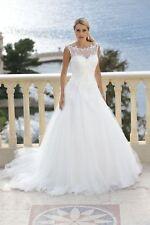 Sexy White/Ivory Lace Applique Tulle Beach Bridal Gown Wedding Dress Custom Size
