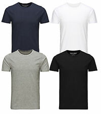 Jack & Jones New Mens Crew Neck Slim Fit T-shirt Stretchy Plain Lycra Cotton Tee