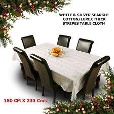 White Silver Wedding Party Table Cloth Cover Cotton Lurex Sparkle Large Checks