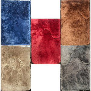 Luxury Bathroom Plush Shaggy Bath Mat Set & Pedestal Non Slip 2pc Soft Rugs Set