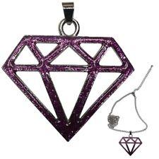 Glitzer Diamant Halskette in Lila