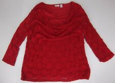 Chicos Crochet Sweater Size 2 Red Large Lined Draped Neck 3/4 Sleeve