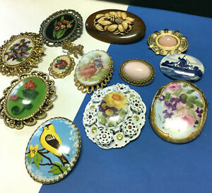 VINTAGE CAMEO BROOCH LOT Hand Painted Delft Petit Point Glass Cabochon V27X