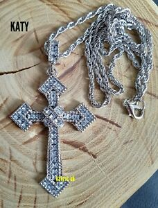 """2.76"""" Large Silver Cross Protection Pendant Rope Chain Crystal Necklace Gift"""
