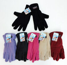 12 Pairs Womens Fleece Gloves Astd Color Thermal Insulated Winter WHOLESALE LOT