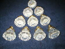New listing Ten Glass and Brass 12 point Door knobs