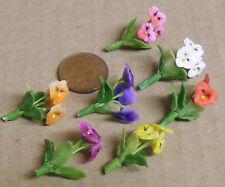1:12 Scale Bunch Of 3 Handmade Pansies Tumdee Dolls House Miniature Flowers ML