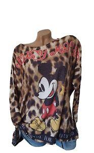 Italy Shirt Strickshirt Pulli Print Mickey Animal Glitzer Gr. EHG XL 44/46 46 48
