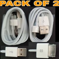 (Pack of 2) USB Cable Charger Data Lead for Apple iPhone 4 4S 3GS iPod iPad 2 1