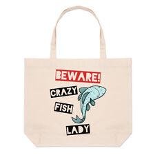 Ten cuidado con los peces Loco Dama Bolsón Bolso de Playa Grande-animales graciosos Hombro Shopper