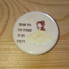 """Beauty and the Beast, 'Thank you' Birthday Favours, 1"""" Badges, Set of 12 badges"""
