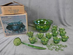 VINTAGE INDIANA GLASS GREEN CARNIVAL HARVEST GRAPE PUNCH BOWL SET USA